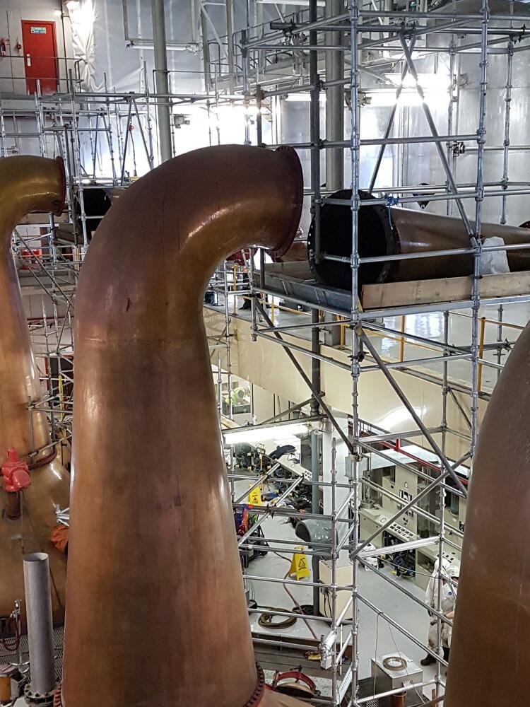 ab access scaffolding around brewing tanks IDL whiskey distillery