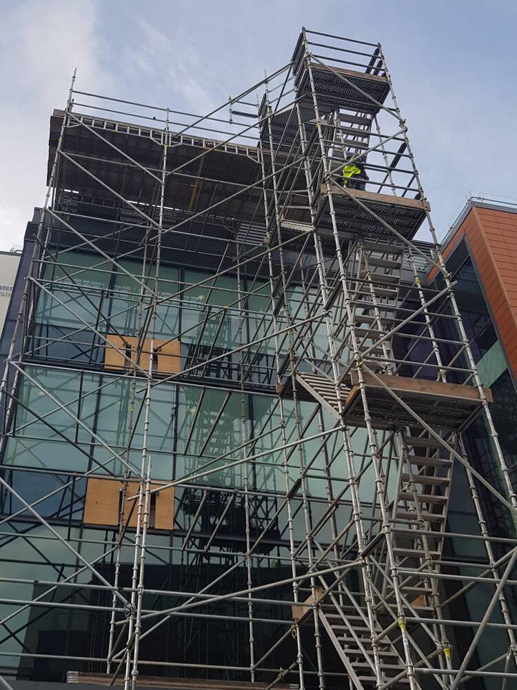 ab access scaffolding on the front of the Mater hospital